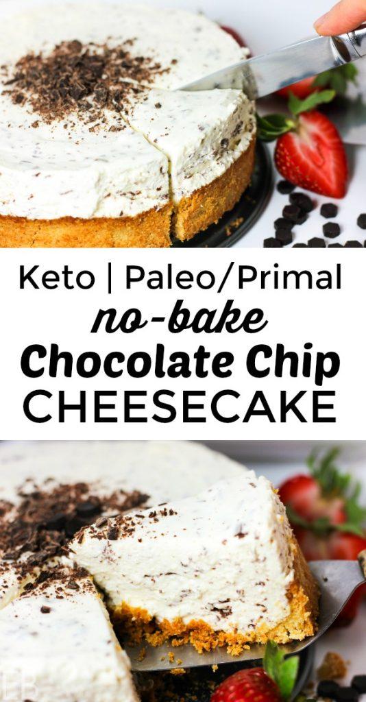 KETO Chocolate Chip Cheesecake (Paleo/Primal variation) #keto #ketodesserts #ketodessertrecipe #ketocheesecake #paleocheesecake #paleodesserts #primal #chocolatechipcheesecake