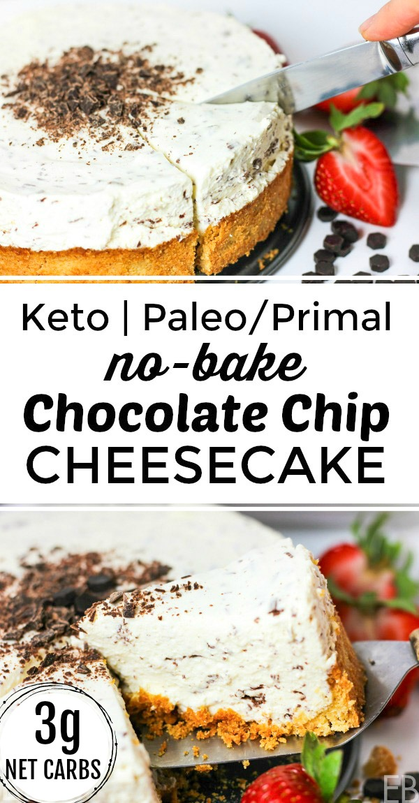 keto primal no-bake chocolate chip cheesecake being sliced into