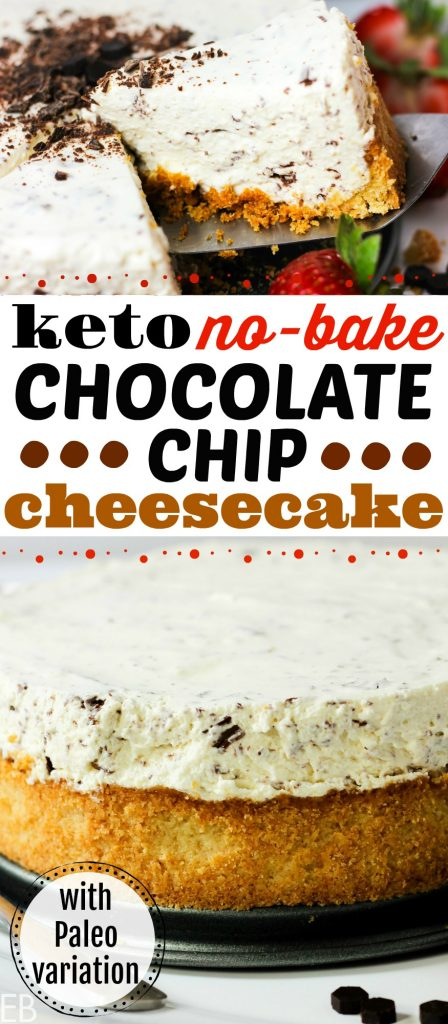 Keto and Primal No-Bake Chocolate Chip Cheesecake is so good that it's hard to wait for it to chill! Have your fork ready! With a just-stevia option for sweetening AND the option to use chevre, this is one special, nutritious yet SO delicious cheesecake!! #keto #ketodessert #paleo #primal #nobakecheesecake