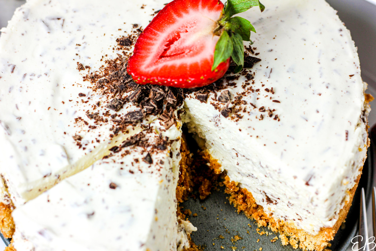 overhead view of sliced into cheesecake