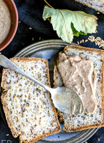seed butter on bread with seeds around