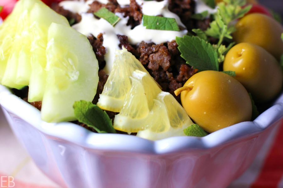 15-minute KETO Greek Bowl (beef or lamb; amazing flavors!!) #keto #gaps #paleo #primal #greekfood #easydinner #ketodinner #ketobowl #lowcarb #lowcarbdinner