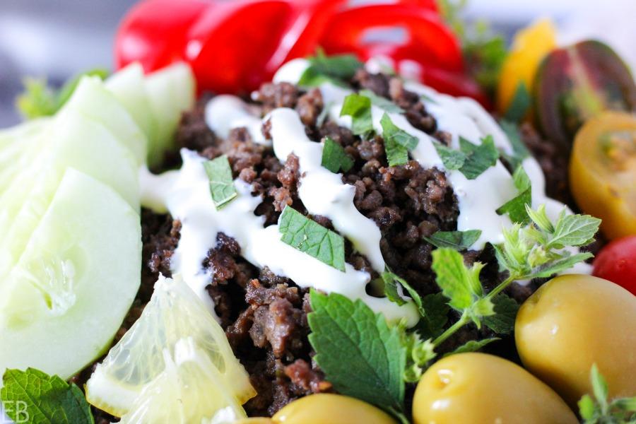 15-minute KETO Greek Bowl (beef or lamb; amazing flavors!!) #keto #gaps #paleo #primal #greekfood #easydinner #ketodinner #ketobowl