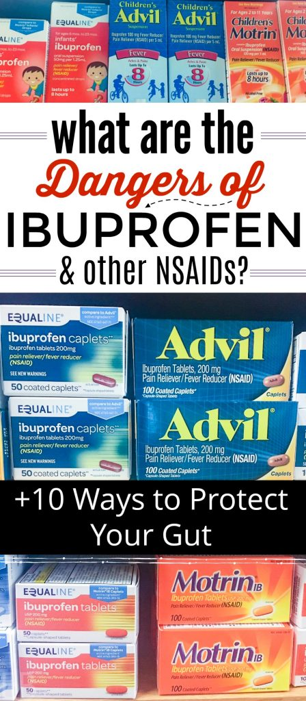 containers of advil, ibuprofen, motrin, dangers of nsaids, how to protect gut