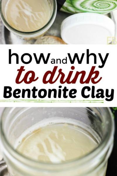 jar of bentonite clay in water to drink