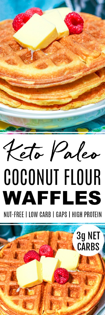 two photos of keto paleo coconut flour waffles with banner