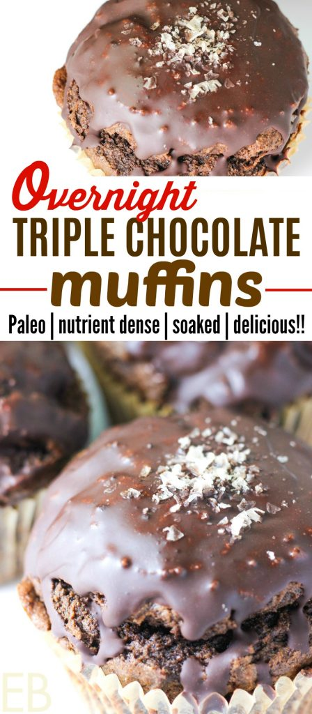 No need for chocolate cake with this moist, healthier version!! Paleo Overnight Triple Chocolate Muffins are soaked & nutrient-dense! #paleo #chocolate #muffins #overnight #soaked #ottos #cassavaflour #resistantstarch #prebiotics