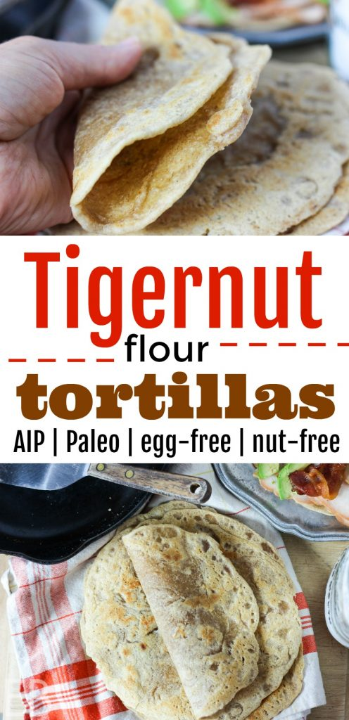 These are delicious! They're actually a little bit sweet! ~ Tigernut Flour Tortillas {Paleo, AIP, egg-free, nut-free, no rolling out!} Yep, no rolling with these sweet beauties, and they provide energy without any blood sugar dips. #tigernut #tigernuts #tigernutflour #aip #paleo #tortillas #grainfree #wraps #eggfree #nutfree
