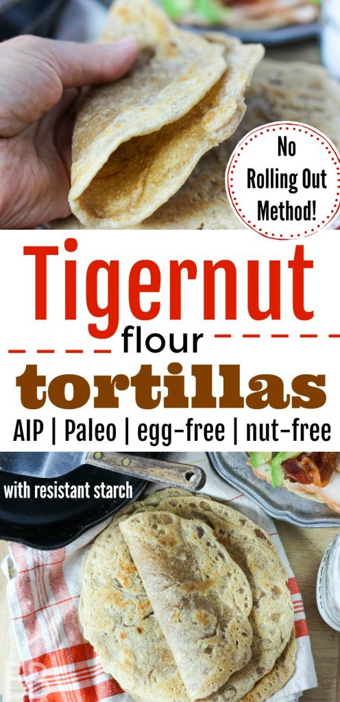 These are delicious! And I love not rolling them out!! So much easier and a more fun process. They're actually a little bit sweet! ~ Tigernut Flour Tortillas {Paleo, AIP, egg-free, nut-free, no rolling out!} Yep, no rolling with these sweet beauties, and they provide energy without any blood sugar dips. #tigernut #tigernuts #tigernutflour #aip #paleo #tortillas #grainfree #wraps #eggfree #nutfree