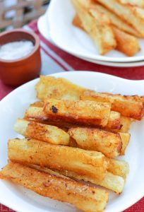 Cassava Fries! These are awesome, a family favorite, such a treat but easy to make! Extra fast and easy in the Instant Pot, and healthier too by using a pressure cooker! #cassava #frenchfries #cassavafries #instantpot #pressurecooker #aip #autoimmuneprotocol #gameday #appetizer #sidedish