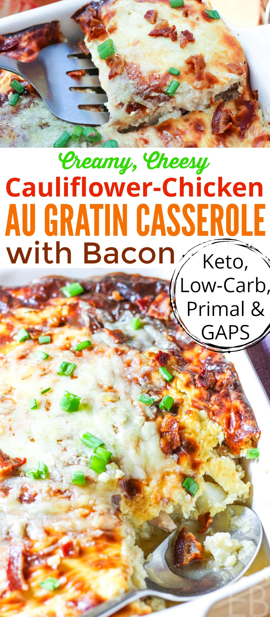 Delicious!! ~ Cauliflower-Chicken Au Gratin Casserole with Bacon is Keto, Low-Carb, Primal (Paleo + dairy), and GAPS diet-friendly. It's comfort food, and it can be made ahead of time. #keto #lowcarb #gapsdiet #paleo #primal #chicken #cauliflower #bacon #cheese #casserole #makeahead #augratin #onedish #dinner #comfortfood #onepan