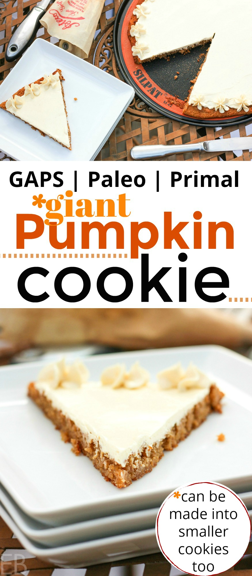 GAPS Diet & Paleo Giant Pumpkin Cookie with Buttercream Frosting — can be made into normal size cookies too! You'll love this special treat and so will your family! Great ingredients, easy on digestion, yet sooo yummy!! #paleo #gapsdiet #pumpkin #cookie #dessert #grainfree #cake #frosting #buttercream