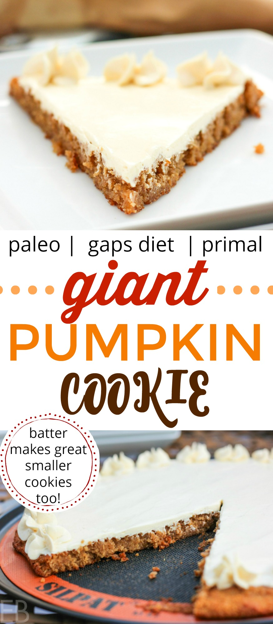 LOVE this cookie recipe!!! Paleo/Primal & GAPS Diet-friendly~ Giant Pumpkin Cookie with Buttercream Frosting — can be made into normal size cookies too! You'll love this special treat and so will your family! Great ingredients, easy on digestion, yet sooo yummy!! #paleo #gapsdiet #pumpkin #cookie #dessert #grainfree #cake #frosting #buttercream