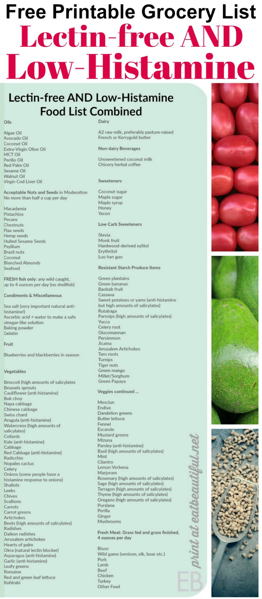 Lectin-free AND Low-Histamine Combined Food List {Grocery List with Printable!} #leakygut #lowhistamine #lectins #lectinfree #printable #grocerylist #list