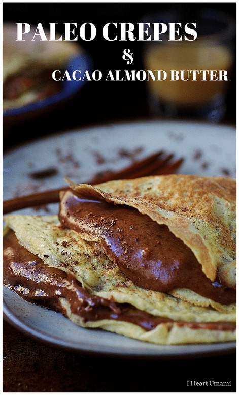 decadent keto low carb chocolate almond butter crepes folded and stacked