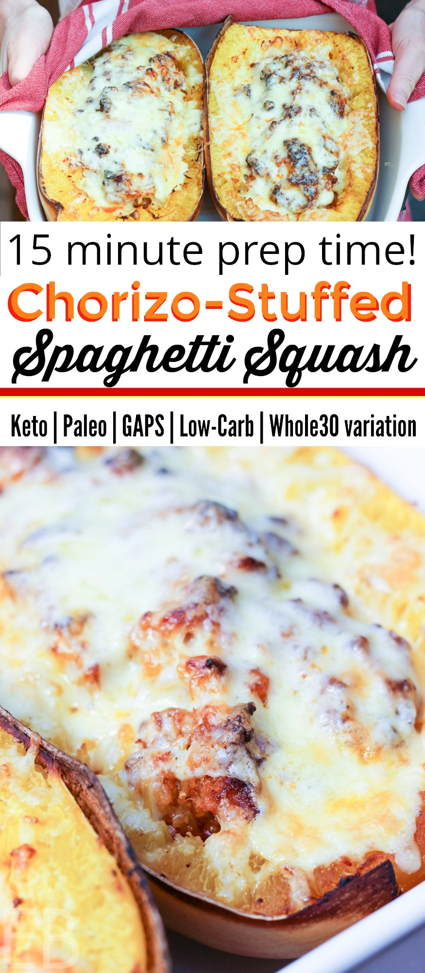 Chorizo Stuffed Spaghetti Squash takes only 15 minutes to make and is delicious!! Great for so many diets, can be made with or without dairy for Paleo, Keto, GAPS, Whole30 and Low Carb! #chorizo #spaghettisquash #wintersquash #keto #paleo #lowcarb #gapsdiet #whole30 #ketorecipes #ketodinner #paleodinner #lowcarbdinner #whole30dinner