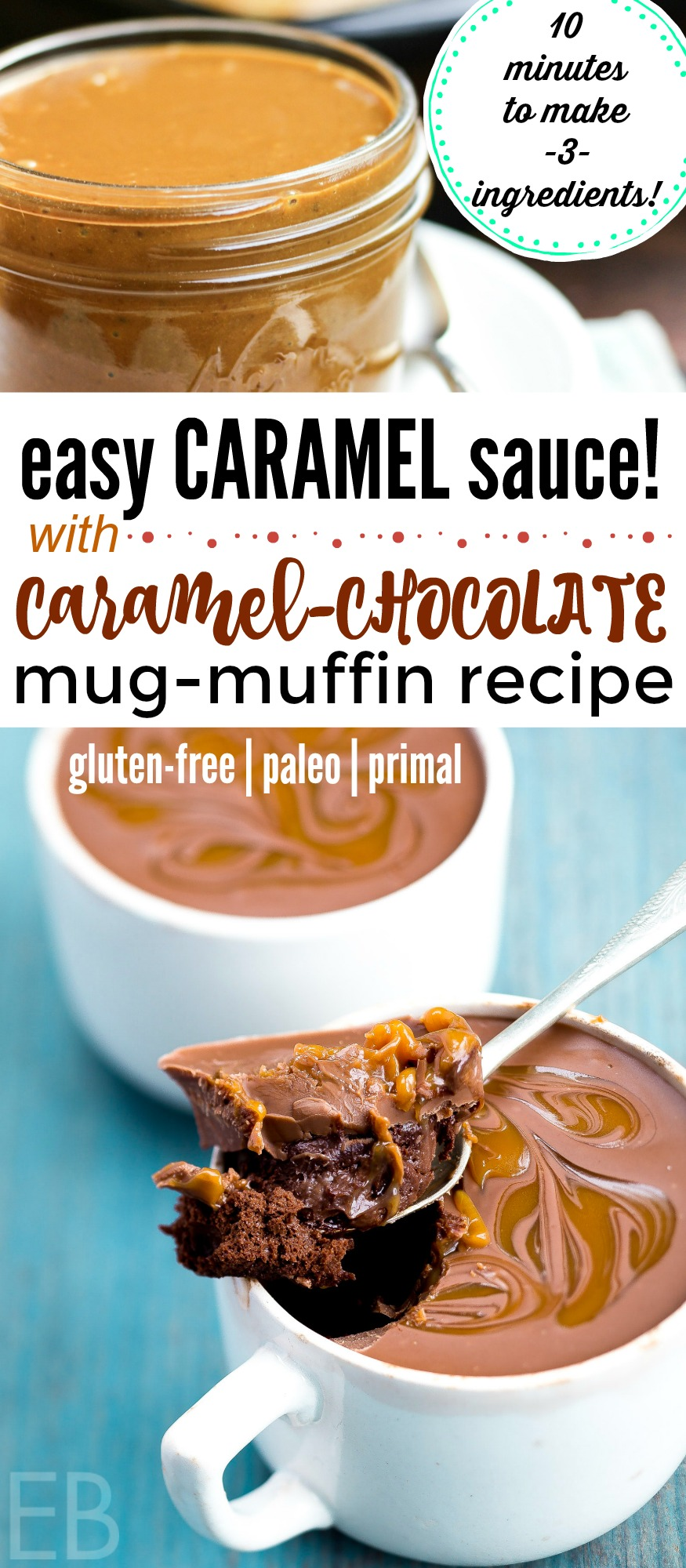 Paleo & AIP Easy Caramel Sauce (with Primal variation) and **Caramel-Chocolate Mug-Muffin Recipe!** You'll love how easy and fast this caramel sauce is!! And then the Caramel-Chocolate Mug-Muffin option is AMAZING!! SUCH a moist and decadent and delicious Paleo dessert treat!! Fun to make for friends or family! #recipe #caramelchocolate