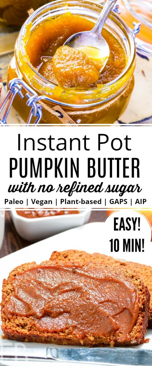 spoonful of instant pot pumpkin butter and it spread on bread