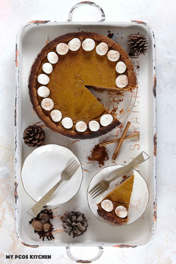 pumpkin pie whole and a slice keto low carb
