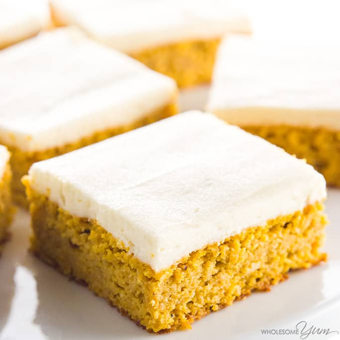 keto pumpkin bar with cream cheese frosting