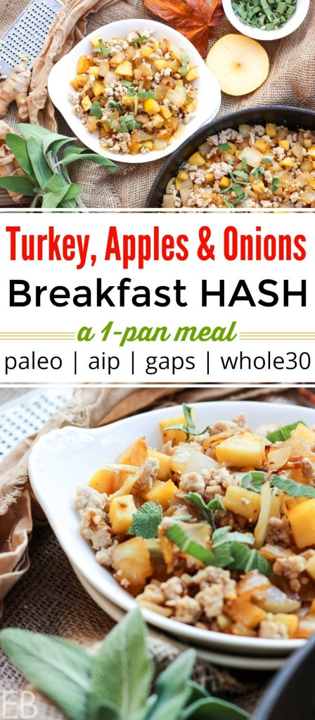 a breakfast dish with ground turkey, apples, onions and fresh sage