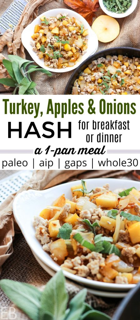 one pan meal in a dish turkey apples and onions