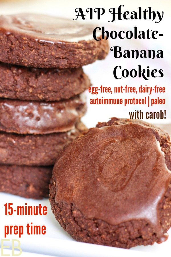 Five healthy AIP chocolate banana cookies stacked and one facing with glaze