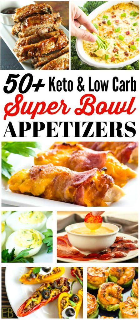 several different keto low carb appetizers for super bowl or game day (a picture collage of finger foods)