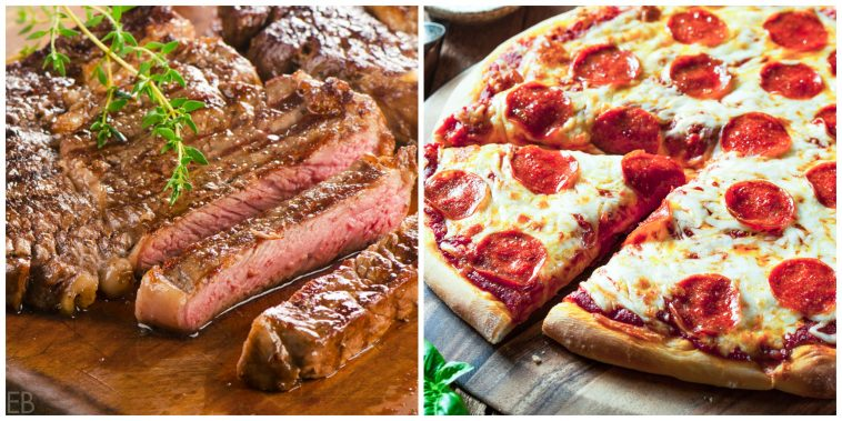 for super bowl meals - sliced steak and sliced pepperoni pizza
