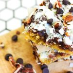Stacked Seven Layer Magic Bars that are Paleo, Keto and Low Carb