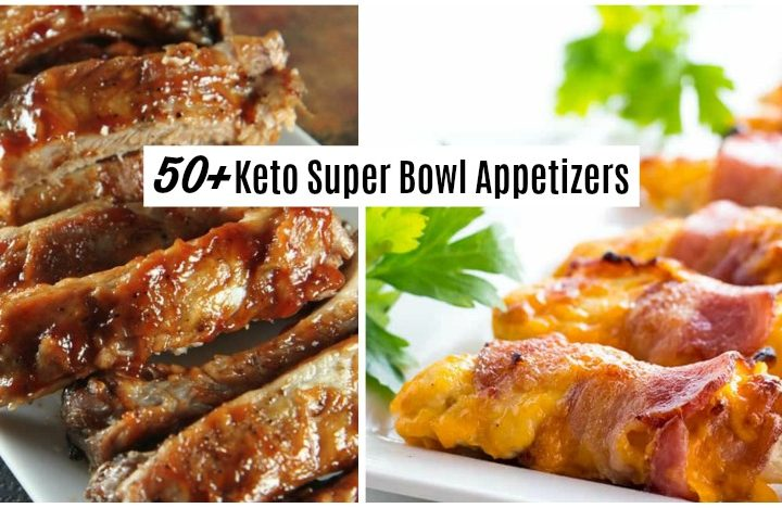 ribs and bacon wrapped chicken are keto super bowl appetizers