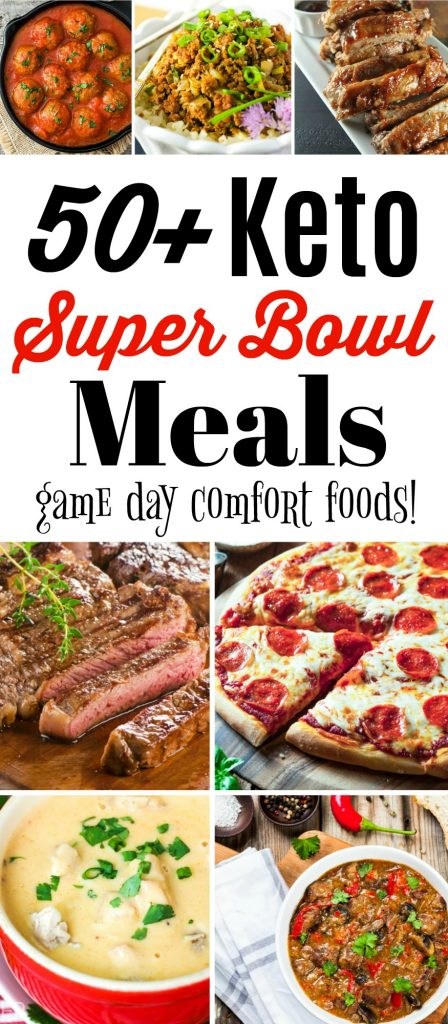 a collage of photos of super low carb game day meals for the super bowl and keto eaters including pizza steak chili soup ribs meatballs