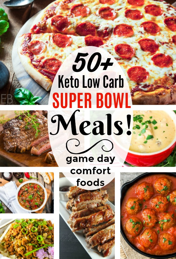 a collage of photos of keto game day meals for the super bowl including pizza steak soup chili meatballs and ribs