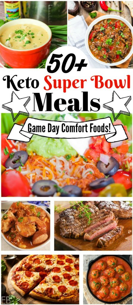 a banner that says, 50+ Keto Super Bowl Meals and Game Day Comfort Foods over several photos of keto pizza, steak, chili and other main dishes