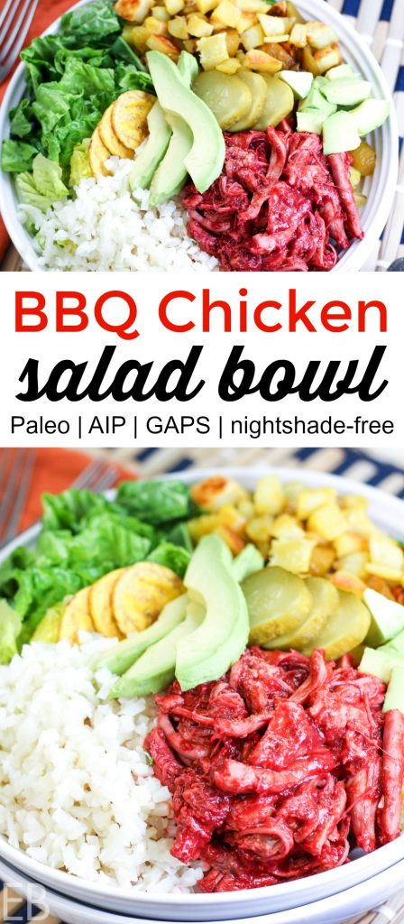Paleo, AIP and GAPS diet compliant BBQ chicken salad with mounds of different toppings in big white bowl
