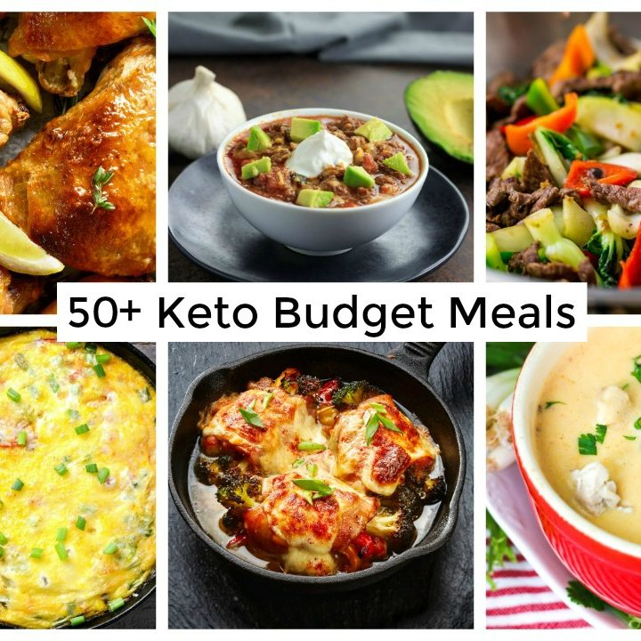 6 images of keto low carb paleo gaps diet dinner meals on a budget with banner across the middle