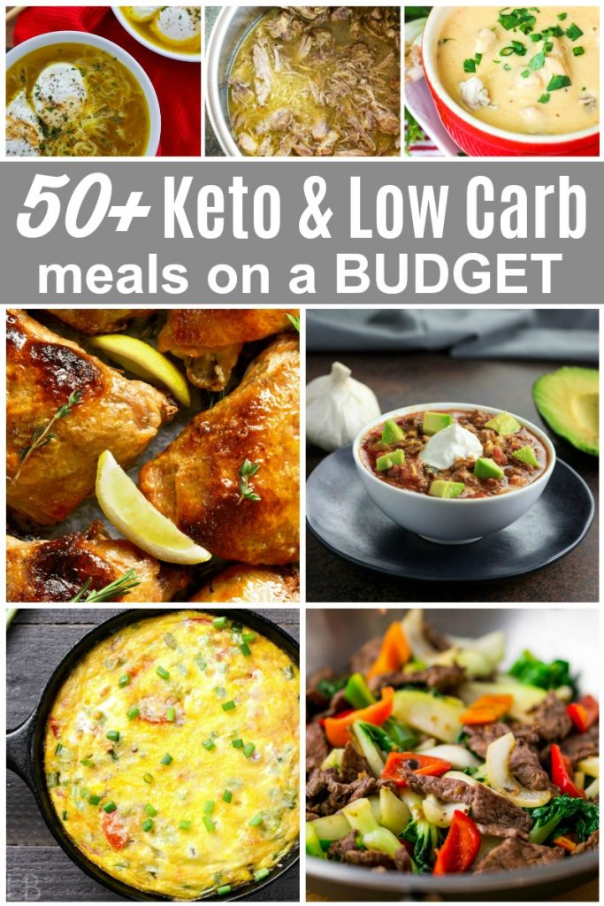 7 photos of different keto and low carb dinner meals on a budget