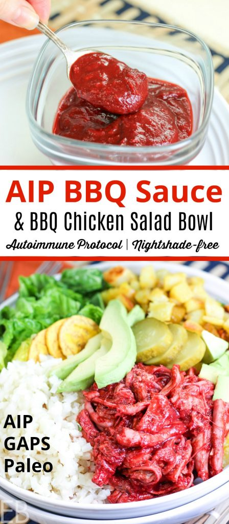 Paleo, AIP and GAPS diet compliant BBQ chicken salad with mounds of different toppings in big white bowl and also a jar of AIP BBQ sauce being dipped into with a spoon