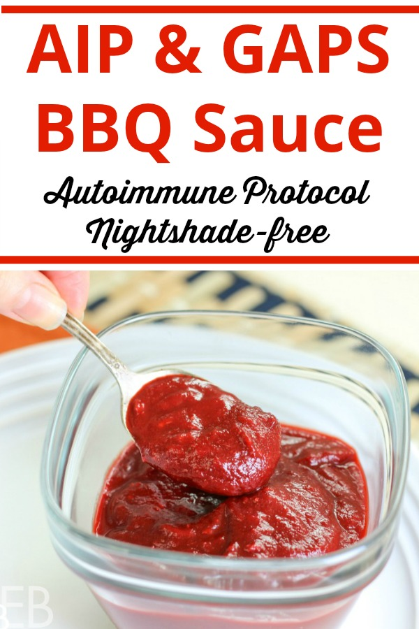 Paleo, AIP and GAPS BBQ Sauce in a bowl being scooped up with a spoon