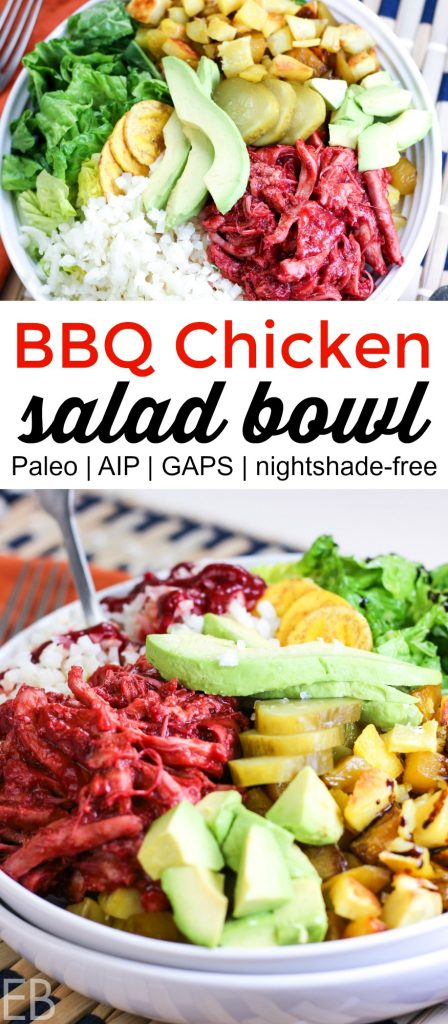 BBQ chicken salad bowl in white dish with all the toppings including avocado, roasted veggies and cauli rice. This dish is Paleo, AIP and GAPS diet.
