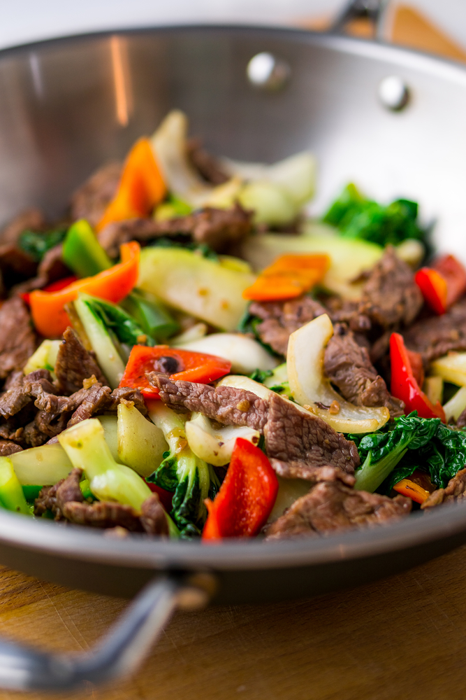 a wok with steak stir fry is one of 25+ keto budget recipes