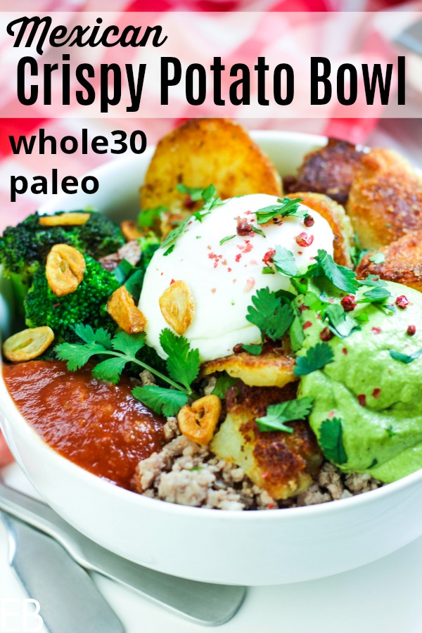 white bowl full of whole30 paleo meat broccoli garlic salsa and crispy potatoes