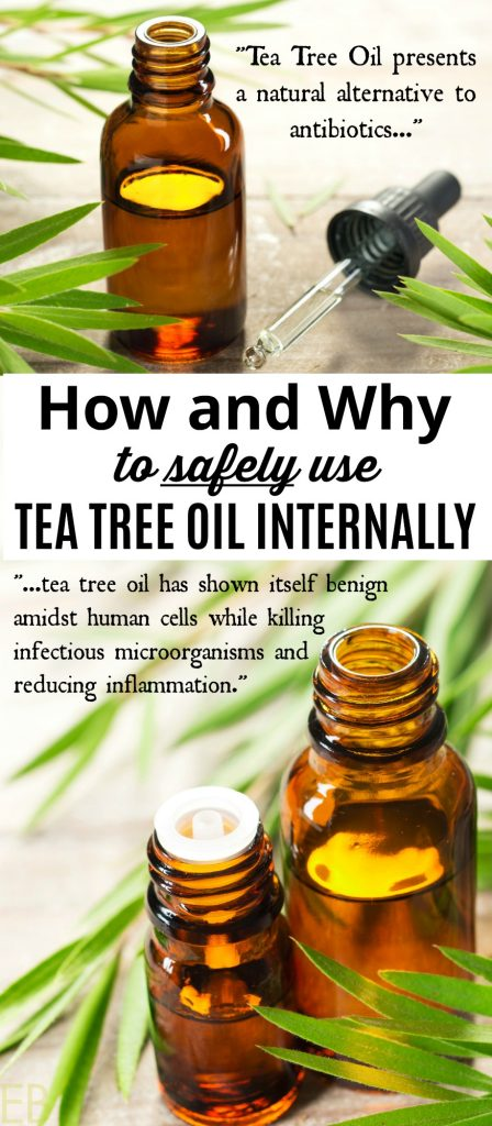 two brown bottles of tea tree oil and words across the middle of the photo saying how and why to use TTO safely internally as a natural remedy alternative to antibiotics and for other uses