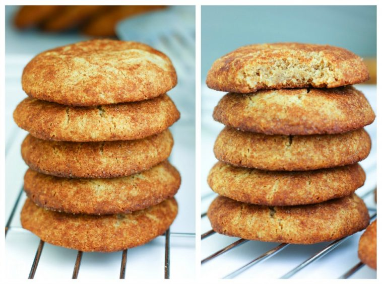 two stacks of paleo aip snickerdoodles with one bite out of one cookie