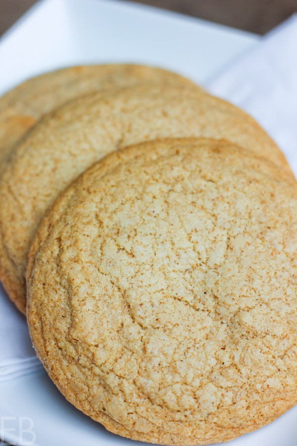 fanned out paleo aip snickerdoodles on a white background