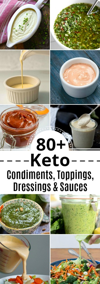 many images of different keto sauces condiments dressings or toppings