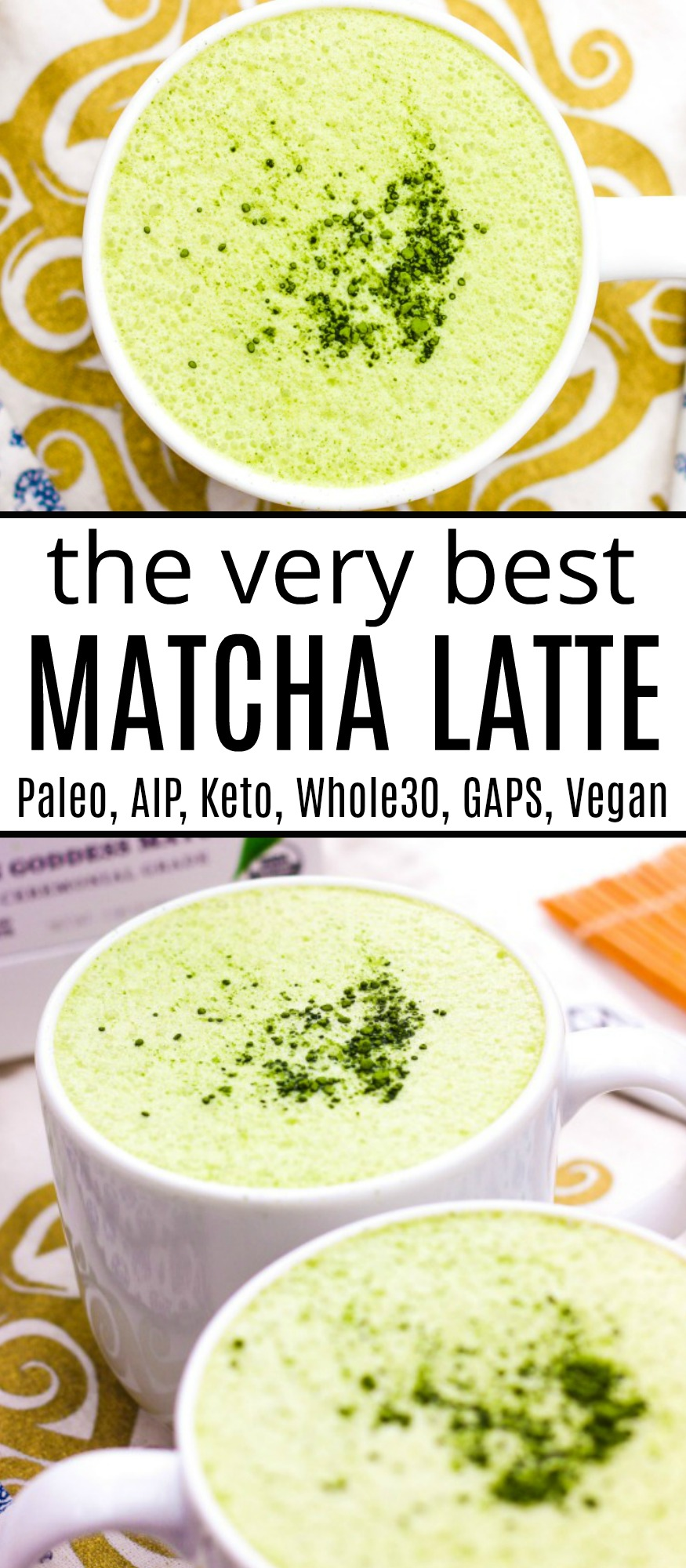 two white mugs with creamy matcha latte is the top image; the bottom photo shows an empty mug of matcha latte