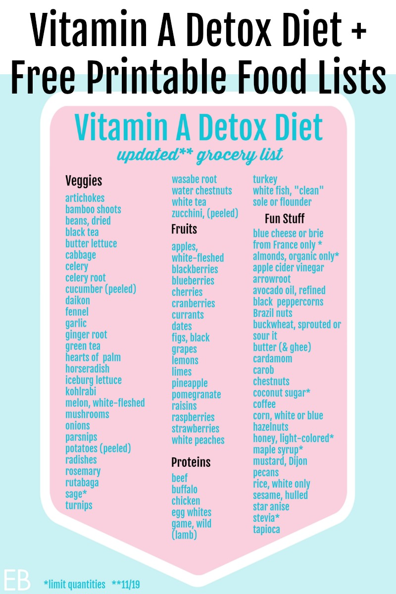 vitamin a detox diet food list