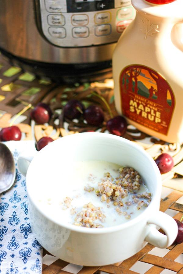 bowl of instant pot buckwheat porridge in front of IP