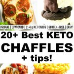 2 photo collages of keto chaffles with banner in the middle